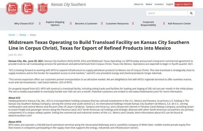 Screen of the article 'Midstream Texas Operating to Build Transload Facility on Kansas City Southern Line in Corpus Christi, Texas for Export of Refined Products into Mexico'