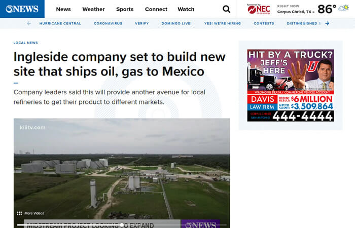 Screen of the article 'Ingleside company set to build new site that ships oil, gas to Mexico'