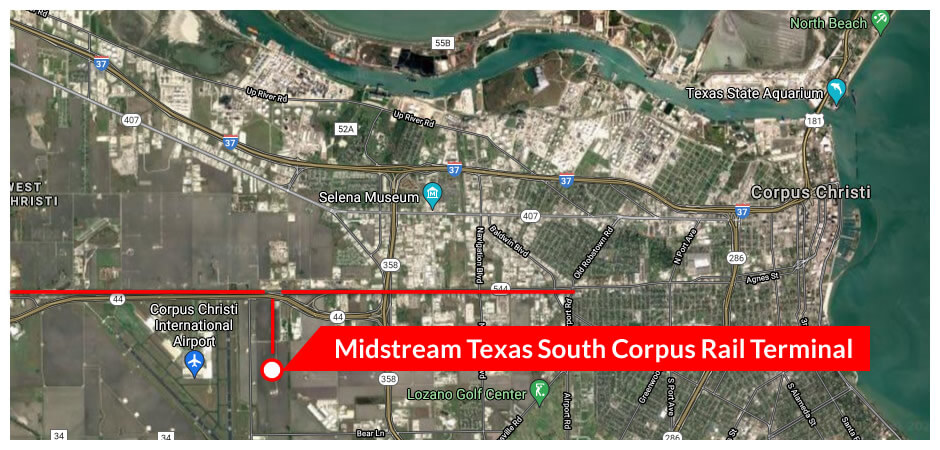 Satellite image with the location of Midstream Texas Operating LLC shown