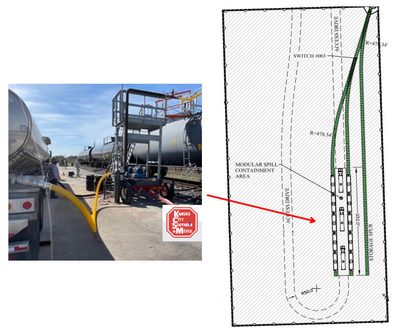 Photo and technical plan of the fuel reloading terminal